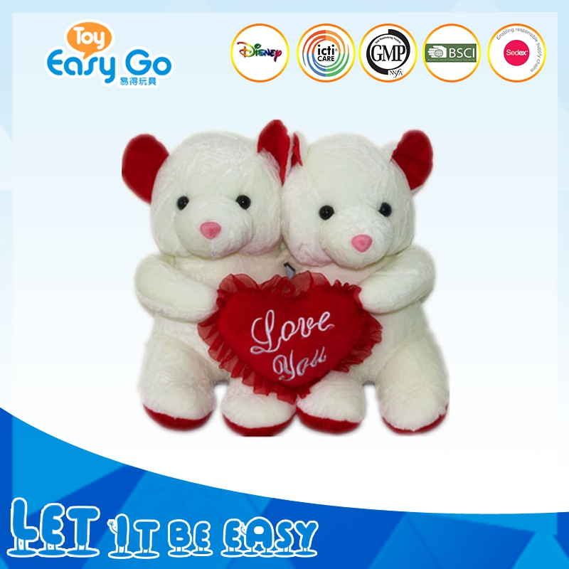 Wholesale White Plush Couple Bear toy With LOVE YOU Heart For Valentine Day Gift