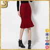 Factory Wholesale Price Elastic Wool Bodycon Flounced Skirt