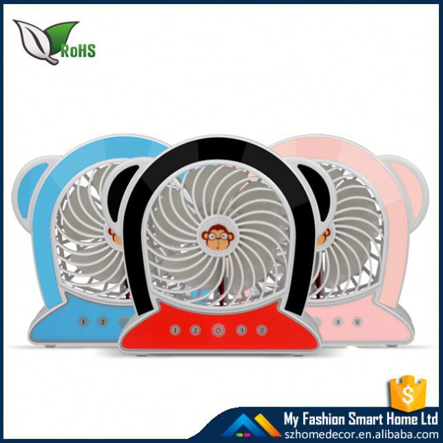 4-inch Vanes 3 Speeds Electric Portable Mini fan Rechargeable Desktop Fan Battery/ USB Powered Laptop Cooling fan