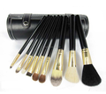 Black 9pcs makeup brush set hard barrel with botton