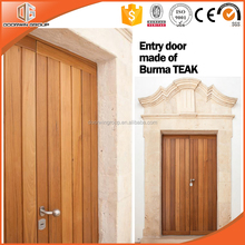 Solid Pine/OAK/Teak wood one sash entrance door with horizontal staves and safety lock