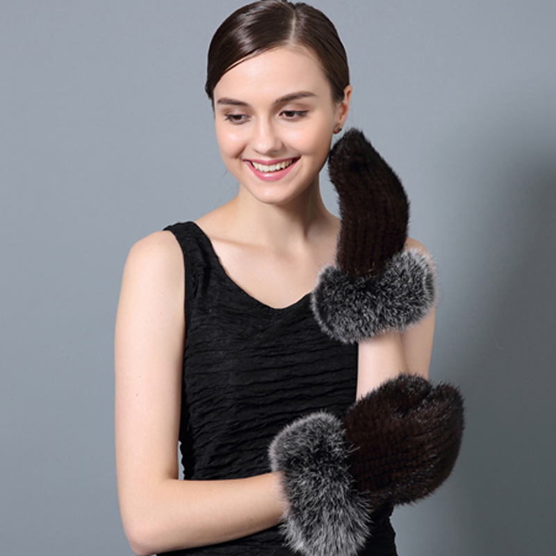 CX-A-60E Factory Direct Sale Fashion Fingerless Knitted Mink Fur Winter Gloves