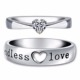 925 Sterling Silver Heart Cut Cubic Zirconia CZ Couple Love Ring