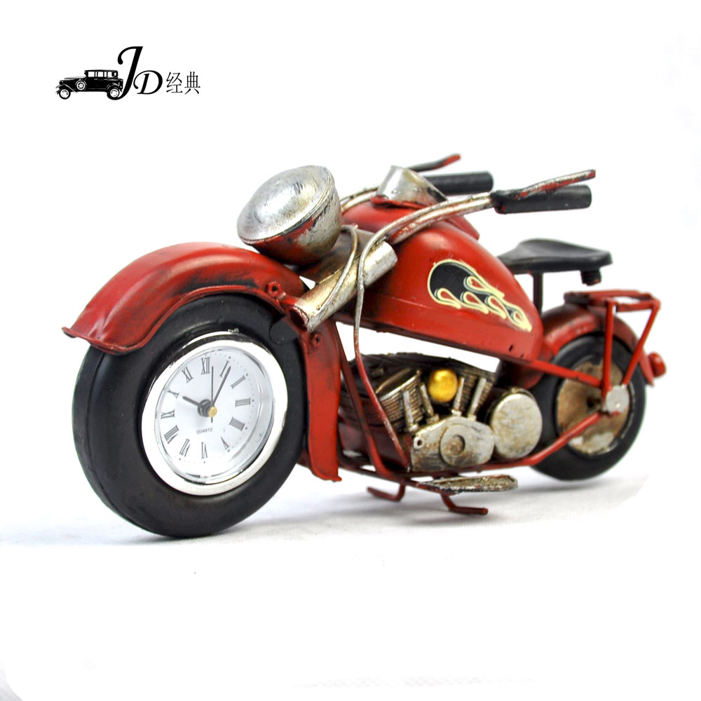2016 Fashion new arrival Retro metal Decorative Clock Living Room vintage Home Decorations metal Motorcycle Model