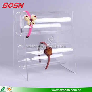 OEM 2 tier acrylic headband display holder lucite Perspex cosmetic stand