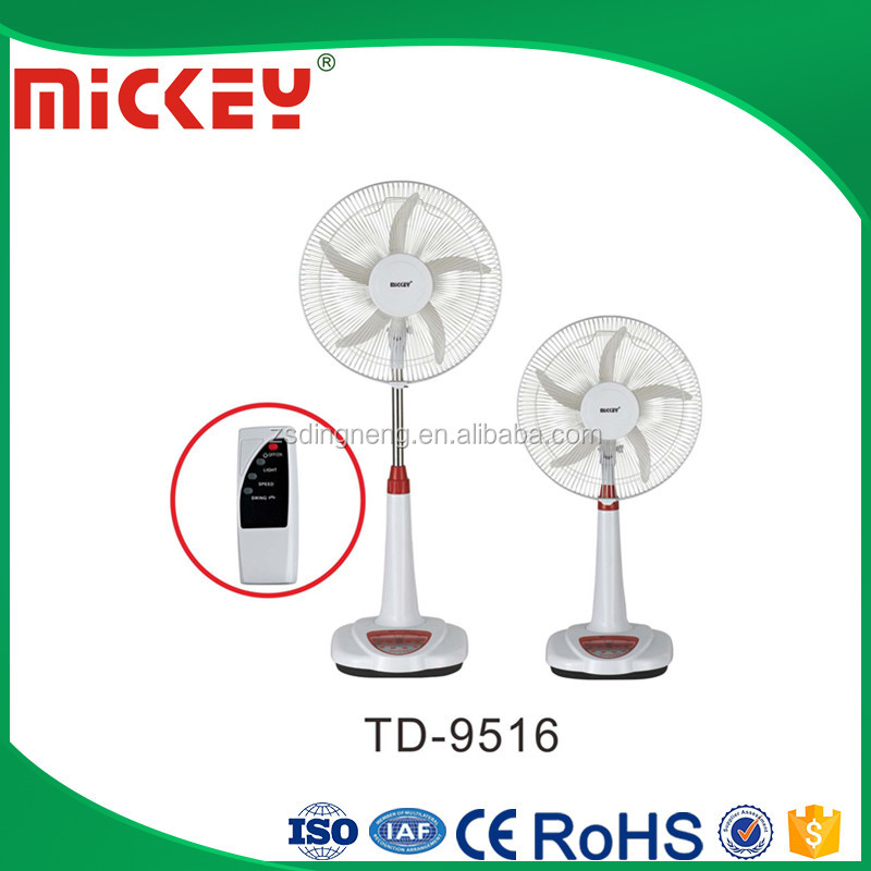 Remote 16 inches AC <strong>DC</strong> 12V Emergency Solar Rechargeable Fan TD-9516