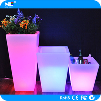 Modern color changing waterproof LED light up square plant and flower pots