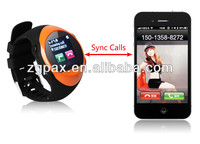 2013 new arrival smart watch phone sync for Iphone/Android phones,can answer/make calling and read/send SMS by the waMQ88L