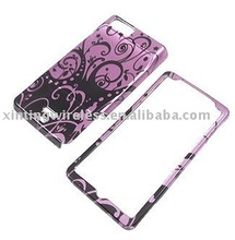 Black Floral Purple design Case for Motorola DROID X MB810