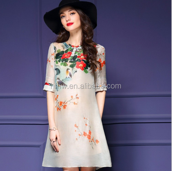 W92767A 2016 summer new fashion women print chiffon dresses