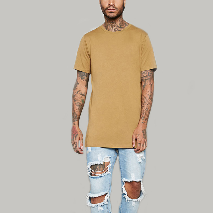 mens custom crew neck plain longline blank tee shirts with side splits
