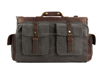 Leather Canvas Travel Duffle Bag