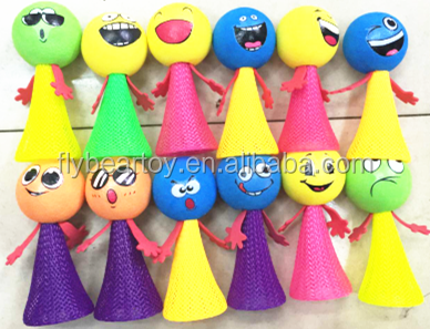 Customized 12pcs face printing Jumping elf Plastic jump elf bounce toy kids jumping elf toys
