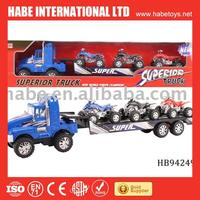 Friction tractor trailer truck with 3 free wheel beach motorbike,plastic toys,friction toys,truck
