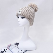Queena Korean Applique Five-pointed Star Wool Ball Warm Winter Knitted Hat