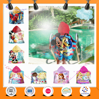 2016 China low price Custom Cotton cartoon Reactive Printed kids hooded baby towels