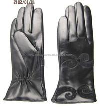cheap ladies wearing black police leather gloves