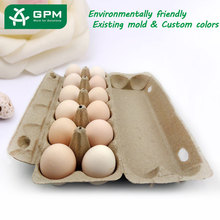 Factory wholesale custom recycled paper pulp printed colored 12 egg cartons