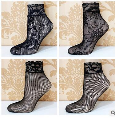 Summer Lace Nets Socks Women Lady Girls 2017 Black Flower Floral Ruffle Fishnet Short Sock Charm Casual Ankle Socks