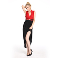 Latest Designs Red and Black Color Block Lady Fashion Dress
