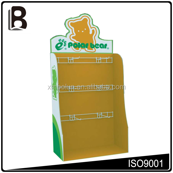 PVC optional header, large size corrugated cardboard countertop display cases with metal hooks