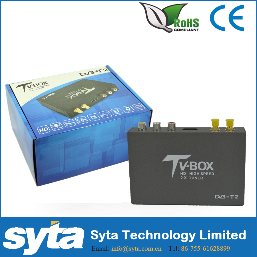 SYTA 2 Antenna HD Car DVB T2 T338B High Speed H.264 (MPEG4) DVB-T2 TV Receiver, 120km/h HD USB Mobile Digital TV Box S2013B