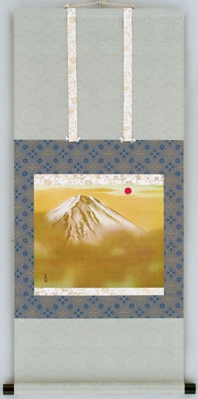 Japanese art Wall scroll Rising sun Fuji mt