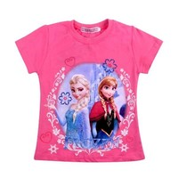 2016 New Girl T Shirt Frozen Elsa & Anna & Olaf Clothes Fashion short sleeve Children T Shirt for baby Girls Casual Kids Clothes
