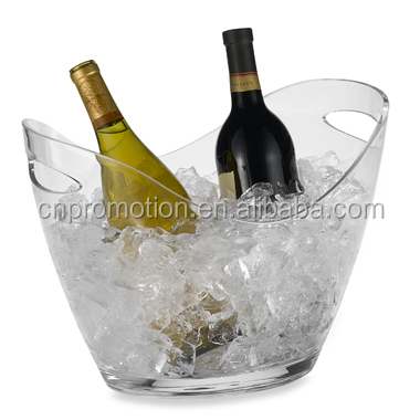 double layer Colourful clear plastic wine cooler beer ice bucket with logo printing