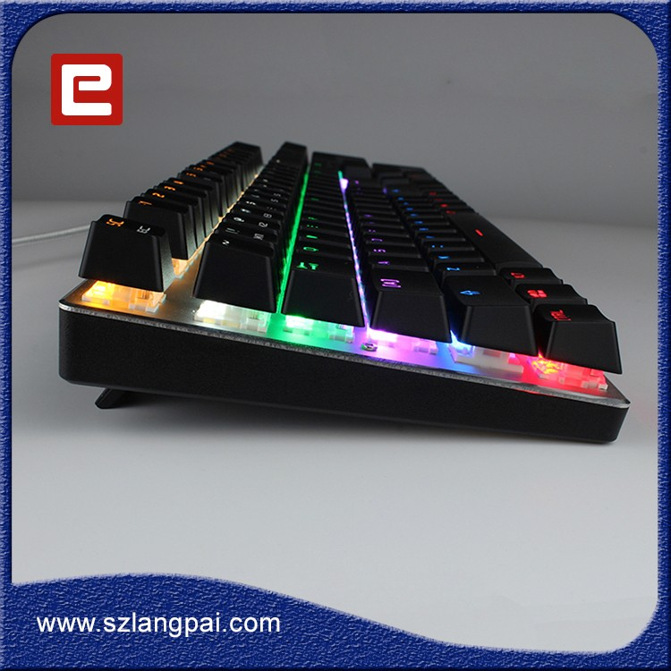 Multi color Backlit 87 Keys Mechanical Gaming Keyboard with custom logo