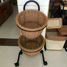 Rattan Bread Basket With Compartment Iron Brackets Carry wheels Various Kinds of Woven Basket for home hotel and Supermarket