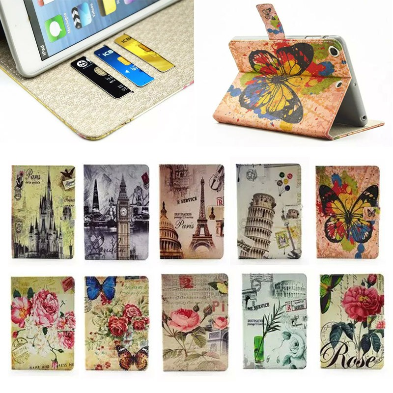2015 Flower pattern cedit card Leather case for ipad 5, for apple ipad 5 case cover