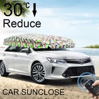 SUNCLOSE Factory advertising camouflage umbrella fold windshield protector fast cover car front sun shade with customized logo