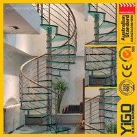 carbon steel spiral stairs/interior spiral staircase glass railing