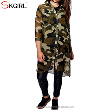 Big size women fashion casual open front printed chiffon camouflage long shirt blouse top for ladies