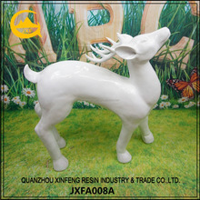 Resin White Deer Sculpture Large Animal Statues for Home Decoration
