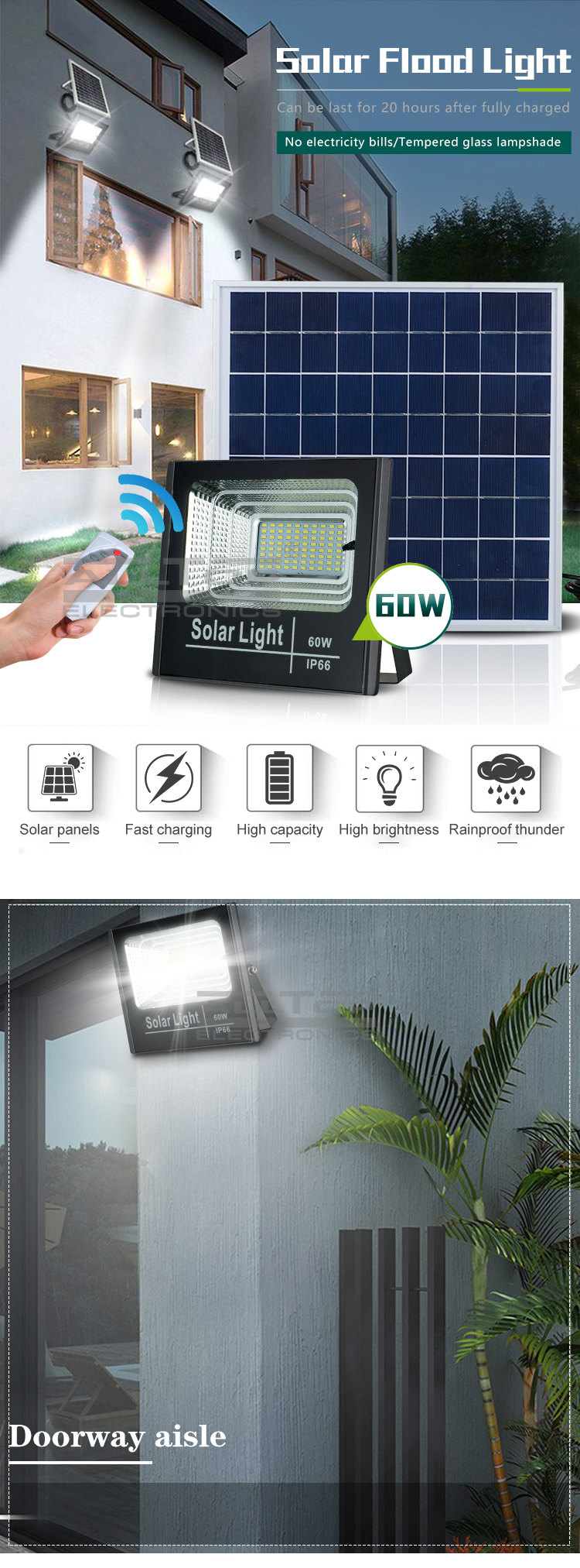 ALLTOP Best quality IP66 waterproof outdoor Aluminum 25w 40w 60w 100w led solar flood light