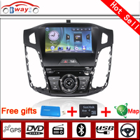 Bway 2 din car audio player for Fucus 2012 car dvd gps 256 MB RAM with car Radio bluetooth,steering wheel