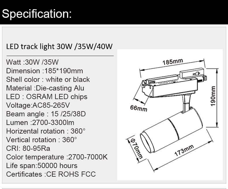 2018 New Design CRI>90 Europe 2/3 /4 Wire 0-10V Dimmable 35W 40W LED Track Light With CE UL