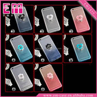Wholesale For Iphone 6 Soft Clear TPU Case With Finger Grip Diamond