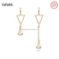triangle 925 Sterling Silver Geometry Triangle stud Earrings dangle champagne gold teardrop gemstone for Women stud earring