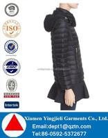 Water Resistant Peplum Hem Hooded Down Puffer Jacket For Womens Clothing
