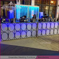 long glass top glowing led acrylic metal frame bar table for party