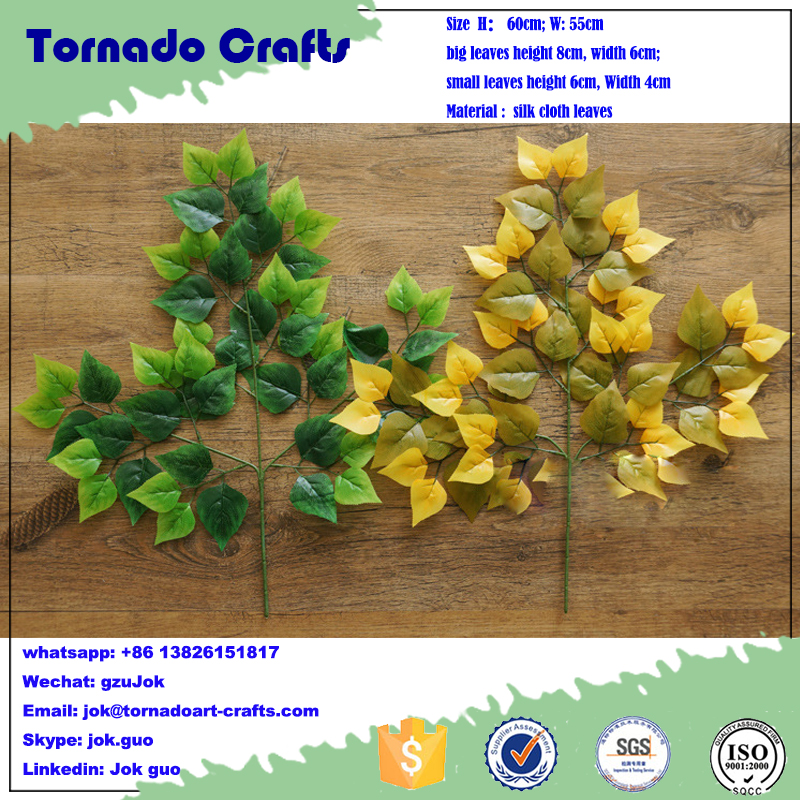 65cm artificial leaf, artificial birch spray, fire-retardant branch wholesale