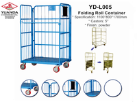 Collapsible wire mesh roll cage container for warehouse storage