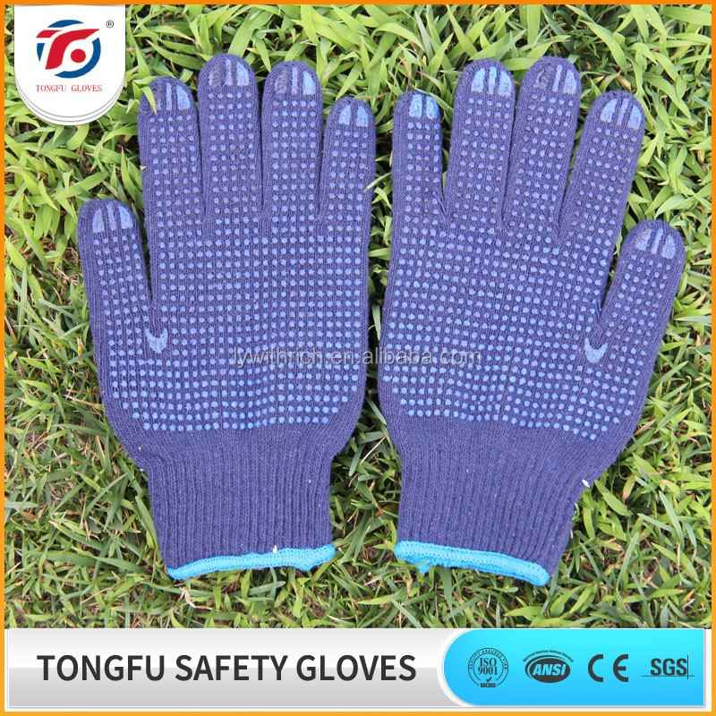 TF natural white cotton lining pvc dots palm coated work gloves/anti slip garden gloves