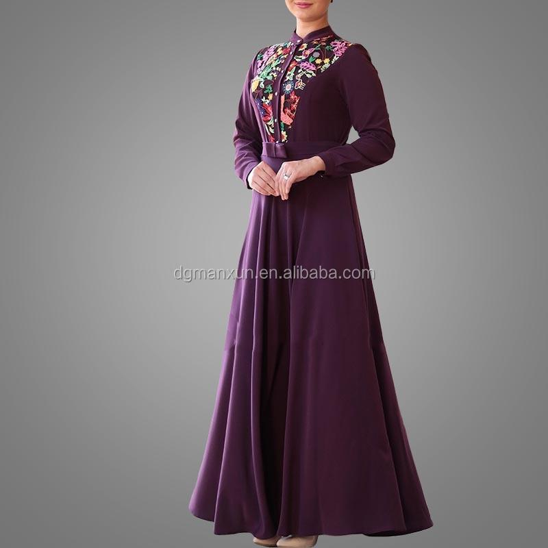 Elegant Muslim Islamic Evening Dress Lace Embroidery Women Dress Slim fit Abaya Dubai 2017 (3).jpg