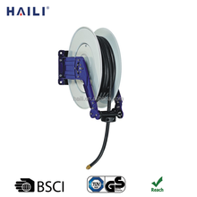 50ft 1/2in. wall mounted heavy duty automatic retractable coiled air hose reel