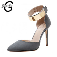 2016 new designer womens metal ankle strap faux suede d'orsay cut out roman sandals 2015 latest manufacturer leather women shoes