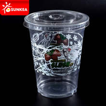 300cc 400cc Plastic smoothie cups with lids for wholesale